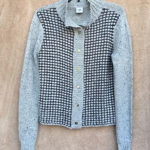 Cabi knit gray sweater front button closure